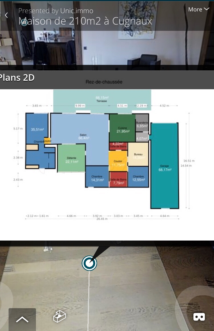 les plans de surface affichent les relevés en mètre carré. Inclus dans notre prestation de visite virtuelle.